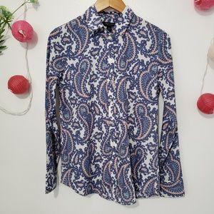 BANANA REPUBLIC paisley long sleeve blouse XS